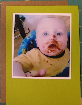Lime green and brown card stock behind photo