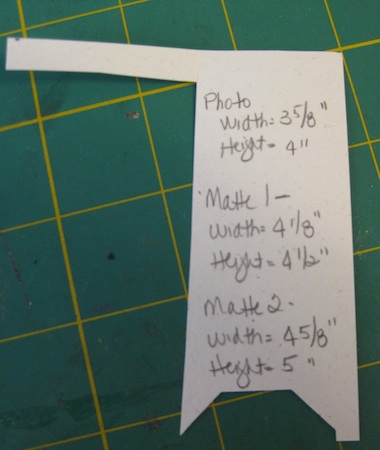 Measurements made for two photo mattes